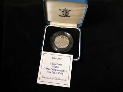 Royal Mint : 1944-1994 Silver Proof Piedfort D-Day Commemorative 50p Coin