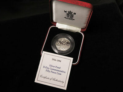 Royal Mint : 1944-1994 Silver Proof D-Day Commemorative 50p Coin