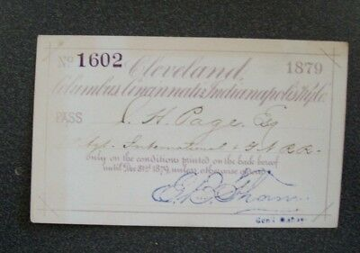 Ccc&i - Cleveland Columbus Cincinnati & Indianapolis 1879 Pass #1602 Page I&gn