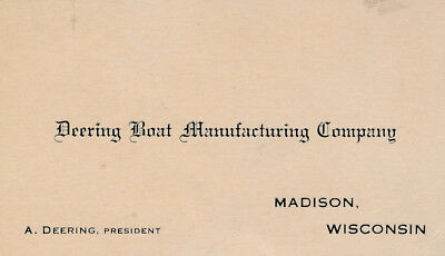 1916 - The Deering Hydroplane business Card Madison Wisconsin