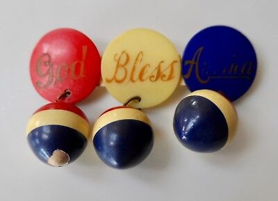 WWII Celluloid Red, White & Blue  GOD BLESS AMERICA Sweetheart Pin