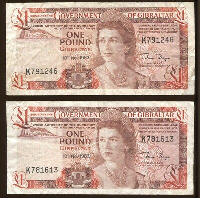 2-One Pound Bank Note Gibraltar 10th November 1983 #5004