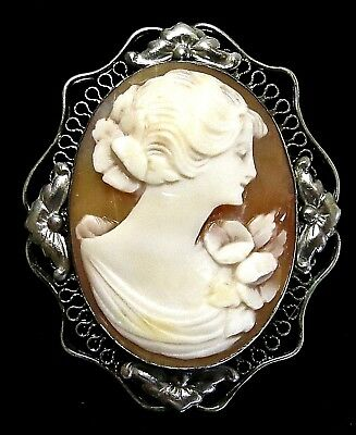 Vintage Art Deco Era Unmarked Silver? Carved Shell Cameo Portrait Pin Brooch