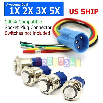 Lot X Socket Plug Wire Connector 16mm Push Button Latching Switch 5pin 1NO 1NC