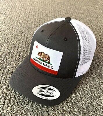 State of CALIFORNIA Flag Hat SnapBack Trucker Mesh Cap Handcrafted in the USA!