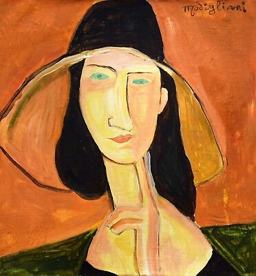Vintage Abstract Oil on Canvas Signed A. Modigliani, Modern Old 20th Century Art