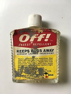 Vintage! Glass Bottle Of OFF! 1960's Insect Repellent. Barn find in a tackle box