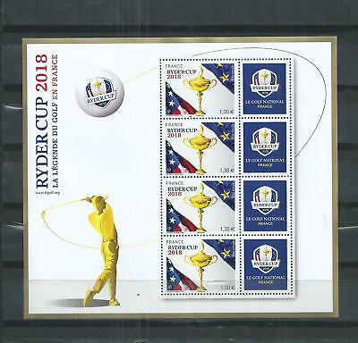 France  Luxe  Bloc  Feuillet Golf Ryder  Cup  2 018  Neuf **. Tirage 30000.