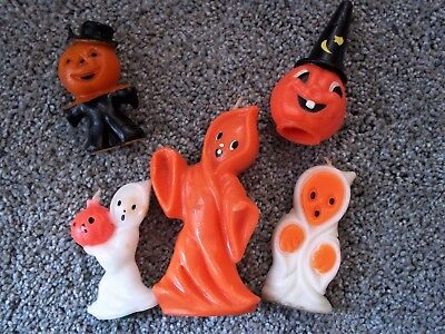 "Five Pc Variety Lot Vintage Halloween Candles 3""-5"" Ghosts and Pumpkins VGC"