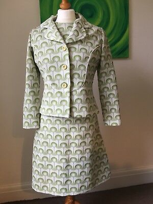 Vintage 60s 70s DL Barron Retro Pattern Mod Wool Mini Dress & Jacket Size 15