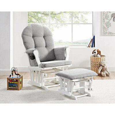 Windsor Glider and Ottoman White with Gray Cushions baby Rocking Nursery Chair