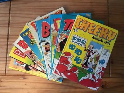 9 UK Annuals 80's-90's Beano, Dandy, Topper, Cheeky, Beezer, Dennis The Menace