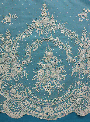 Antique late 19th century large Brussels lace alb flounce