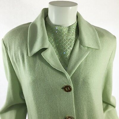 NWT St John Marie Gray Green Jacket Top Pant 3 PC Suit Size 14 12 L Retail $1884