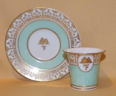 Worcester Armorial Coffee Cup & Saucer 1 C1815-20