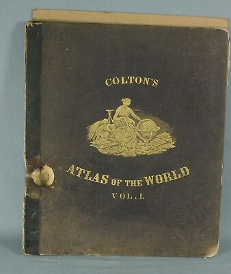 Coltons Atlas of the World 1856 North & South American DAMAGED Volume 1