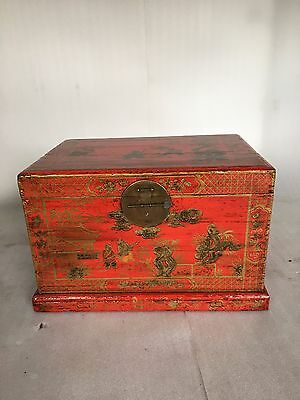 oriental red lacquer trunk