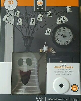 NIB Halloween Fabric Ghost Lights - Indoor/Outdoor - 10 Lights - Black Wire