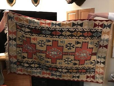 "Aztec Wall Hanging or Rug, 3'6"" X 5'10"", professionally cleaned"