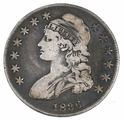 1836 Capped Bust Half Dollar 90% Silver Us Collectible 50C Coin Vg-F Condition