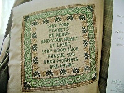 Cross Stitch Pattern St. Patrick's Pillow Irish Blessing