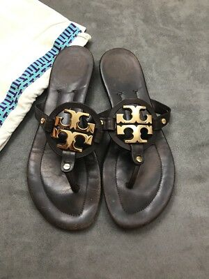 3e82118ee15f TORY BURCH MILLER 2 Chocolate Brown Gold Logo Sandal SOLD OUT!!! Sz ...