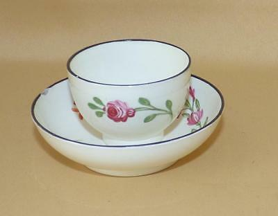 English Creamware Handpainted Flowers Toy Miniature Teabowl & Saucer C1800-20