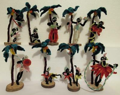 9 pc Vintage Black Mambo Chenille Pipe Cleaner Figures 1940's Japan Palm Trees