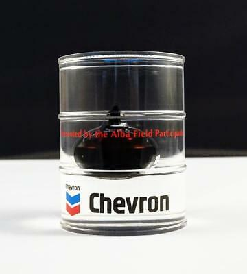 VINTAGE 1993 CHEVRON OIL ALBA FIELD FIRST OIL PERSPEX BARREL PAPERWEIGHT - 6.5cm