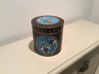 Antique Chinese Cloisonne Lidded Tea Caddy