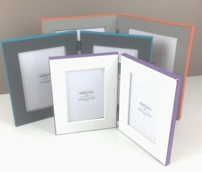 Double Folding Photo Picture Frame Portrait with a Pop of Colour - 3 Sizes
