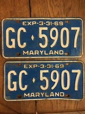 Maryland License Plate Tag Number Gc 5907 Classic Md Vintage 1969 Yom Pair