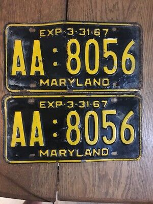Maryland License Plate Tag Number Aa 8056 Classic Md Vintage 1967 Yom Pair