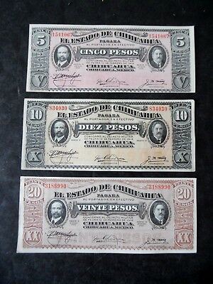 Lot of 3 Chihuahua Mexico 1914-15 Banknotes 5,& 20 Pesos Au/Unc 10 Light Crease