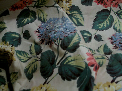 Vintage Fabric 1940 Bark Cloth Twill 26X62 Hydrangea Floral Great Color