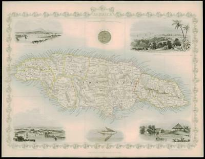 "1850 ""JAMAICA"" Original Antique Map by Tallis KINGSTON PORT ANTONIO PORT ROYAL"