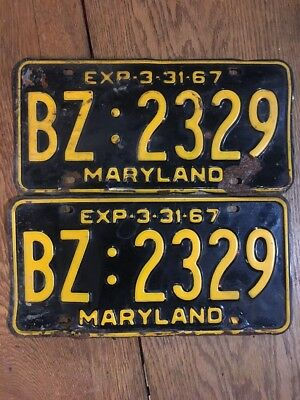 Maryland License Plate Tag Number Bz 2329 Classic Md Vintage 1967 Yom Pair