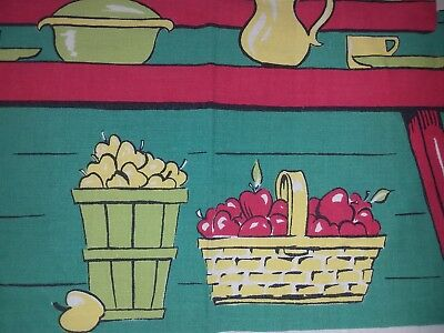 Vintage Hand Print Handprint Tablecloth Kitchen Baskets Of Vegetables Ivy Cute