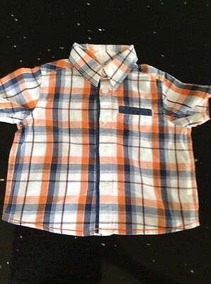 Boys Mothercare Blue & Orange Check Shirt Age 3-6 Months
