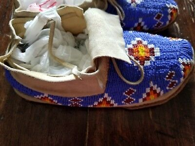 Authentic Native American fully beaded leather moccasins