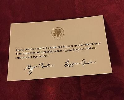 GW BUSH Signed WHITE HOUSE CARD THANK U 4 Remembrance GOLD EAGLE SEAL PRESIDENT