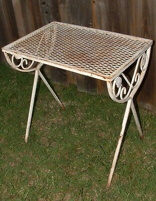 """Mid Century Modern Wrought Iron Mesh Patio Table 12.5"""" Wide 18.5"""" Long 19.5""""Tall"""