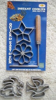 VINTAGE Nordic Ware DOUBLE ROSETTE IRON + 4 MOLDS - NEW