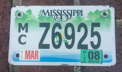 Mississippi Motorcycle License Plate 2008 Magnolia Flower ManCave Craft MC Z6925