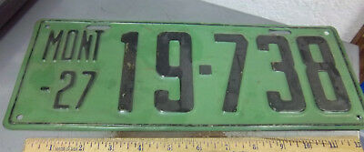 Montana metal License plate 1927 black on green issue 19-738, good condition