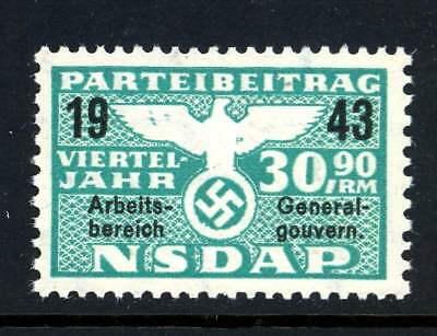 Germany 1943 Nazi Party NSDAP Dues 30.90 RM Revenue Stamp WWII MNH UMM 4A4 4
