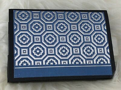 Hallmark Note Cards & Envelopes Silver Blue Embossed Geometric 10pk #CNT1027