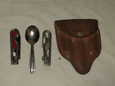 Vintage Bsa Boy Scouts 3 (Pc) Schrade Knife Co. Utility Set
