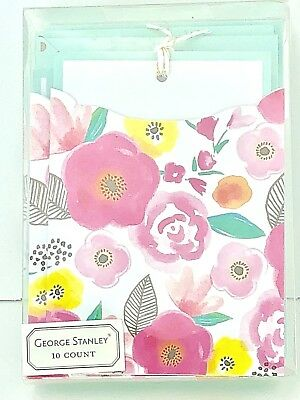 George Stanley Note Card Set Pastel Watercolor Floral Pocket 10 count NEW