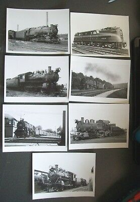 "Prr Pennsylvania Rr - 5"" X 7"" B&w Locomotive Photos  - Lot Of 7 Pc."